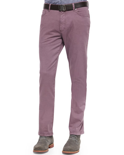 Five-Pocket Slim Fit Pants, Mauve