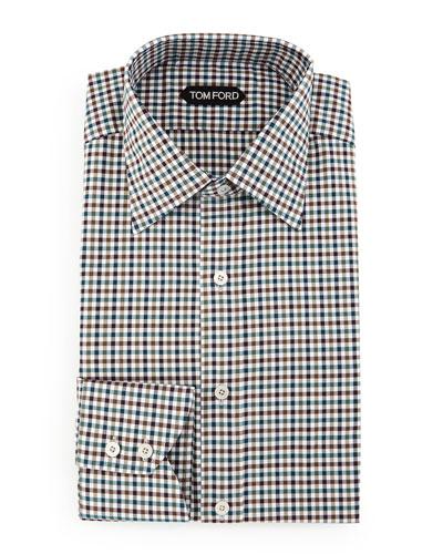 Gingham Sport Shirt, Teal/Olive