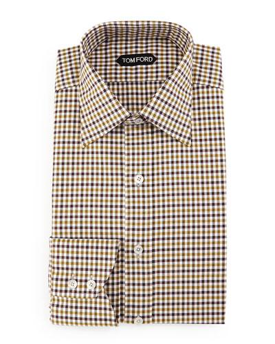Gingham Dress Shirt, Aubergine