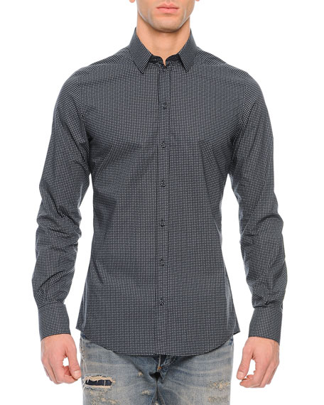 Dolce & Gabbana Small Dots Long-Sleeve Sport Shirt,