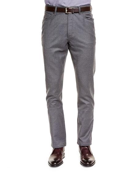 Five-Pocket Stretch Pants, Dark Gray