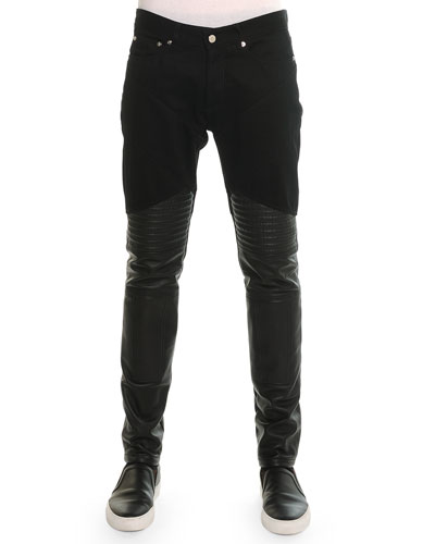 Denim Pants with Leather Trim, Black