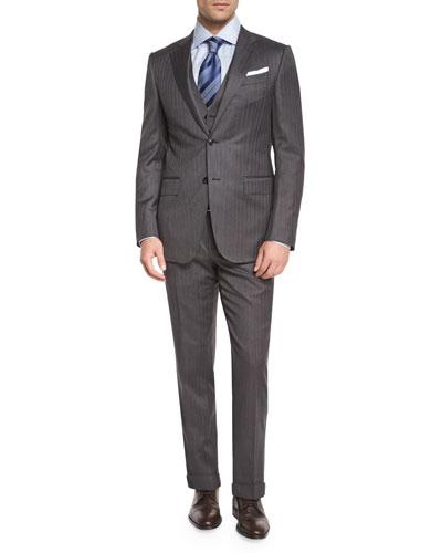 Herringbone Three-Piece Wool Suit, Gray