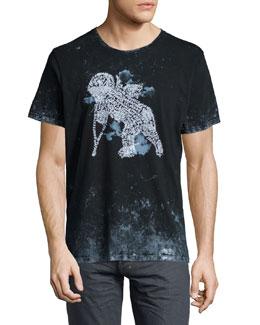 Perseus Tie-Dye Cherub Graphic Tee, Black