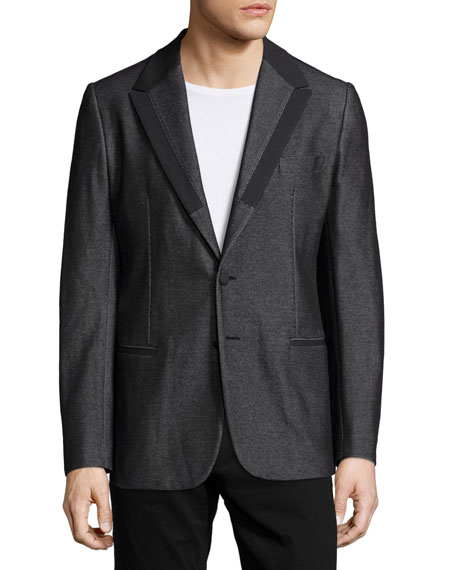 Dolce & Gabbana Textured Jacket with Satin Lapels,