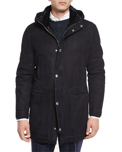 Suede Shearling Fur-Lined Parka, Navy