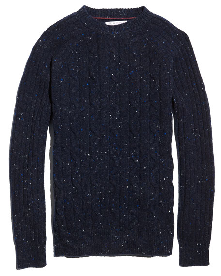 Cable-Knit Donegal Sweater, Navy