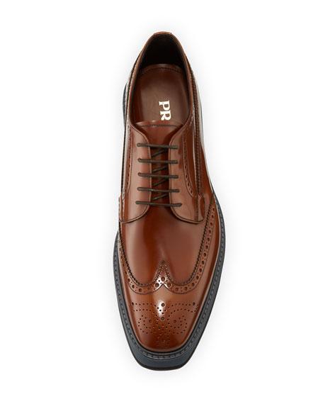 Men's Spazzolato Creeper Brogue Platform Shoe, Light Brown