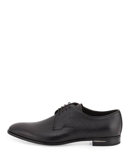 Saffiano Leather Lace-Up Oxford, Black