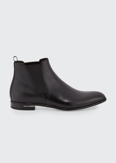 Saffiano Leather Chelsea Boots  Black