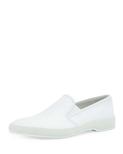 Point-Toe Leather Slip-On Sneaker, White