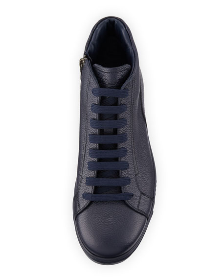 Leather Zip-Side High-Top Sneaker, Blue