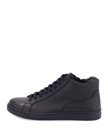 Men's Leather Zip-Side High-Top Sneakers, Blue