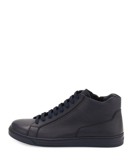 Leather Zip-Side High-Top Sneaker, Blue
