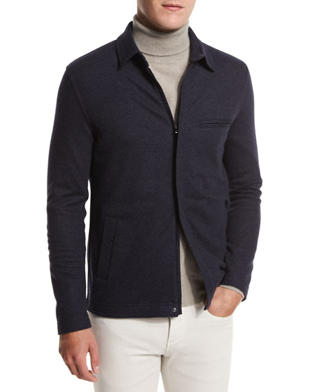 Loro Piana Cashmere-Blend Zip-Front Shirt-Sweater, Navy Blue/Plaster
