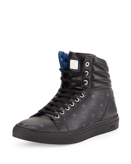 Monogrammed Leather High-Top Sneaker, Black