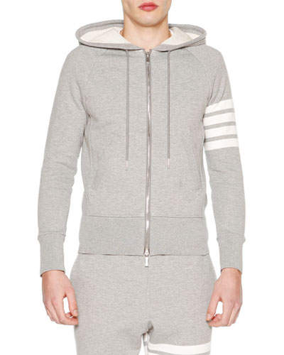 Classic Zip-Up Hoodie with Stripe-Detail, Light Gray/Optic White