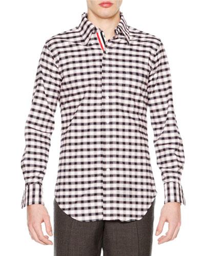 Check Long-Sleeve Sport Shirt, Red/White/Blue