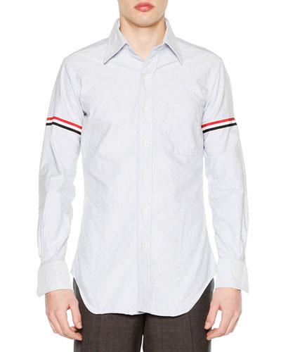 Classic Arm-Stripe Long-Sleeve Oxford Shirt, Blue
