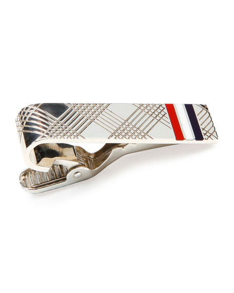 Thom Browne Check Tie Bar with Stripes, Silver