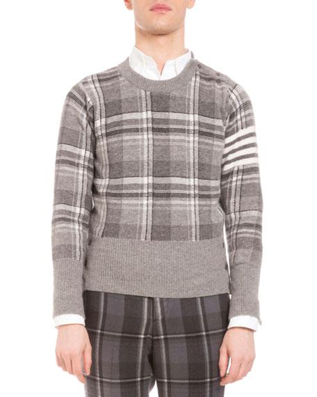 Plaid Intarsia Wool Sweater, Medium Gray
