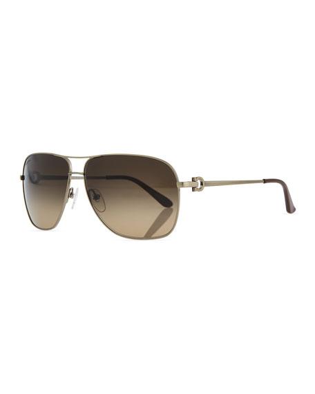Navigator Metal Sunglasses, Brushed Gold