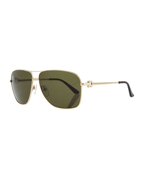 Navigator Metal Aviator Sunglasses, Shiny Gold