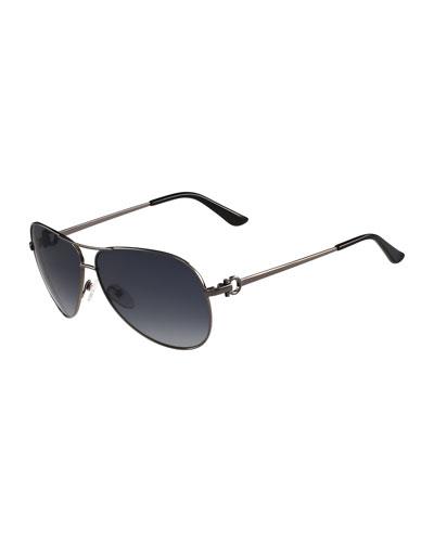Metal Aviator Sunglasses with Gancini Temple, Gunmetal