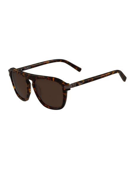 Gancini Bridge Plastic Square Sunglasses, Havana