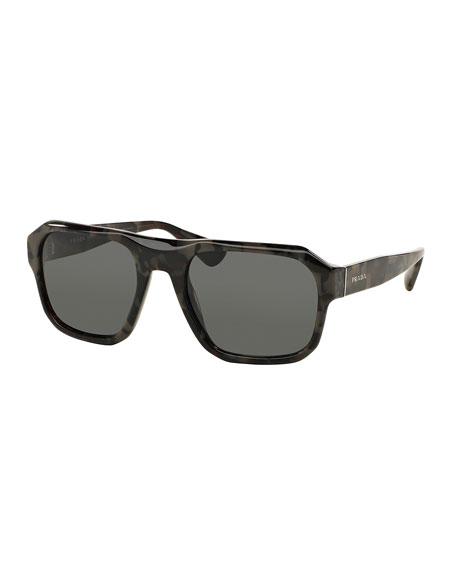 Square Acetate Gradient Sunglasses, Gray