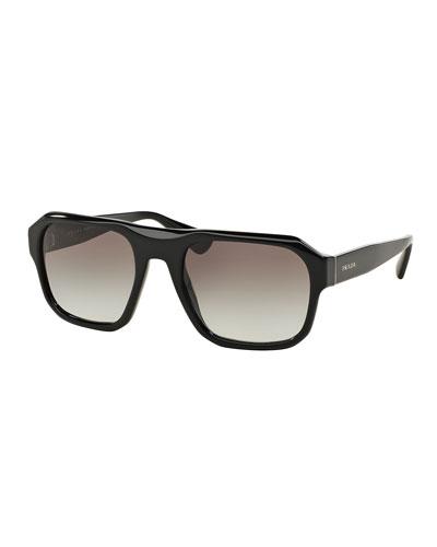 Square Acetate Gradient Sunglasses, Black