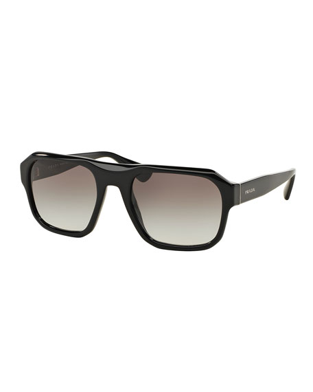 Square Acetate Gradient Sunglasses, Black