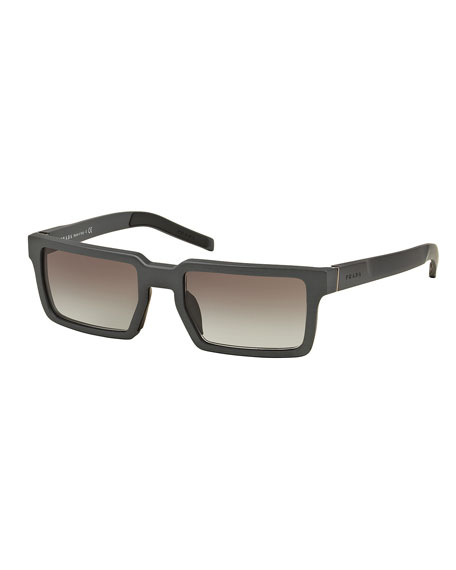 Thick-Rim Rectangular Aluminum Sunglasses, Gray