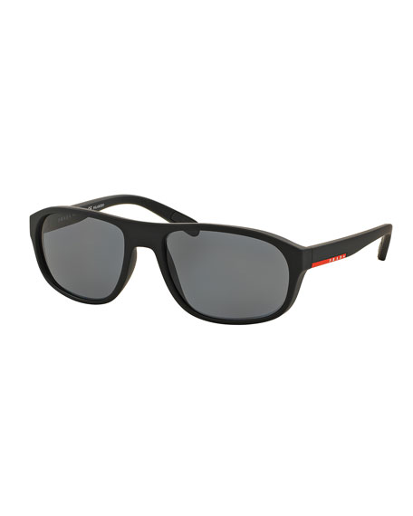 Rectangular Nylon Sunglasses, Black