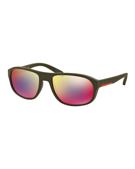 Rectangular Sunglasses with Mirror Frames, Green