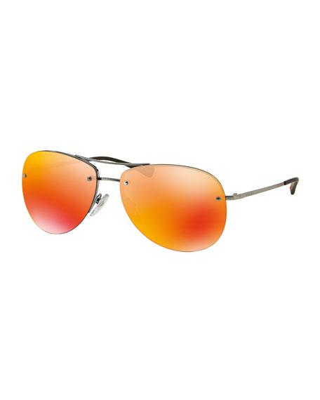 Rimless Metal Aviator Sunglasses