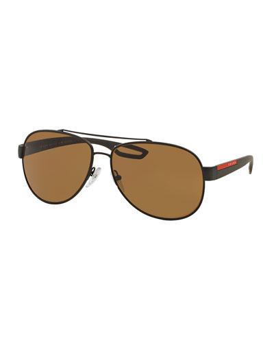 Metal Aviator Sunglasses, Brown