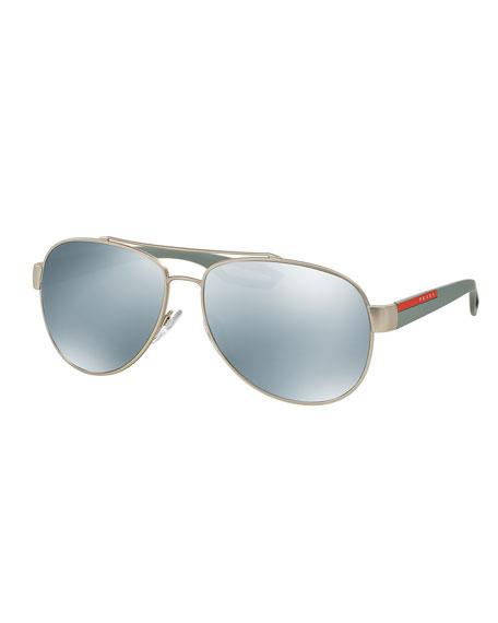 Linea Rossa Metal Aviator Sunglasses with Mirror Lenses, Silver
