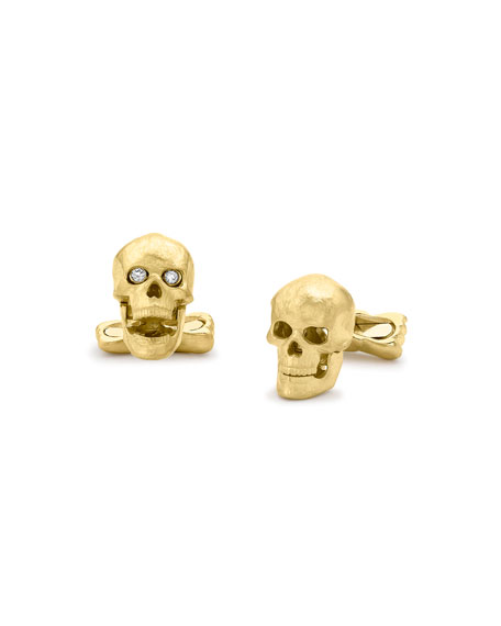 Yellow-Gold Skull Cuff Links