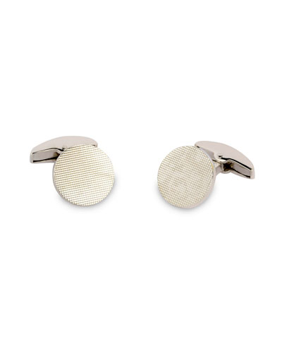 Textured Round White-Gold Cuff Links