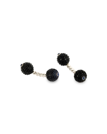 Carved Onyx & Sapphire Twisted Bar Cuff Links