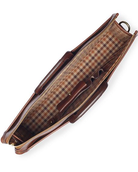 Expediter Leather Attache Case, Vintage Chestnut