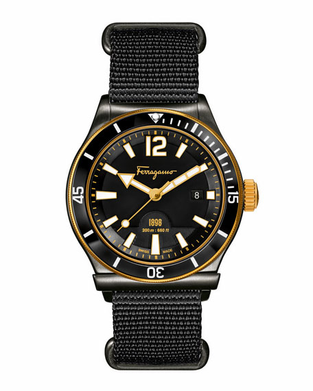 1898 Rotating Bezel Watch, Black/Gold