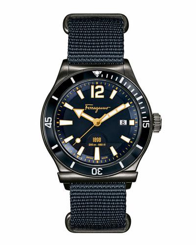 43mm Gray IP-Bezel Watch, Blue/Gray