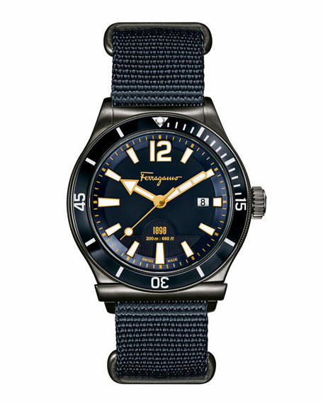 Salvatore Ferragamo 43mm Gray IP-Bezel Watch, Blue/Gray