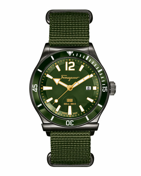 Ion-Plated Watch with Nylon Strap, Olive Green