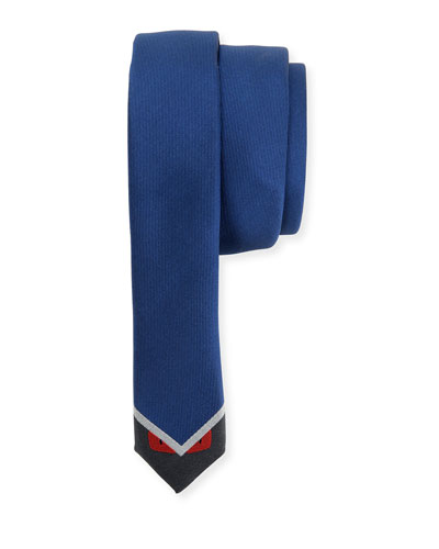 Monster-Bottom Skinny Tie, Blue/Gray