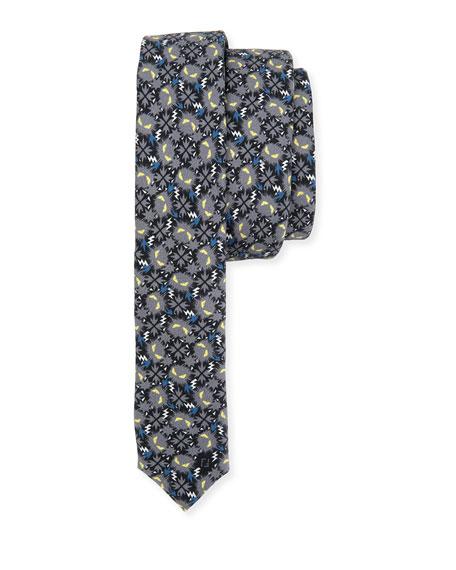 Fendi Little Monsters Skinny Tie, Blue/Gray