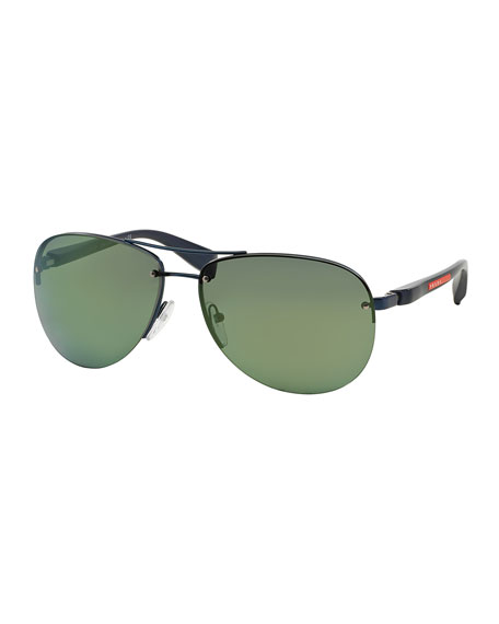 Oversized Aviator Sunglasses, Black/Green