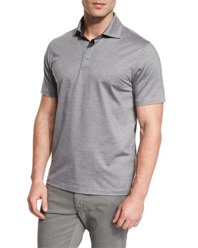 Stretch-Cotton Polo Shirt, Grey/Navy